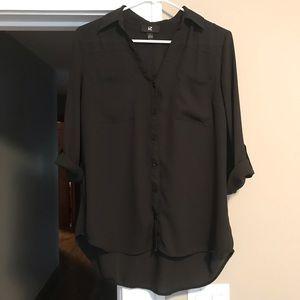 Black tab sleeves blouse